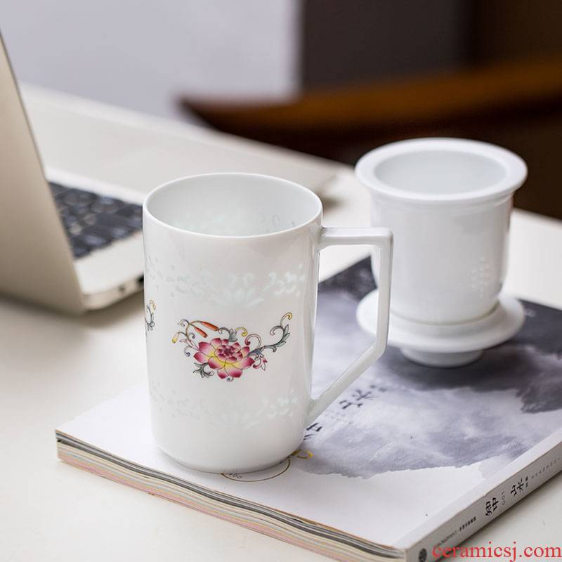 Jade cypress jingdezhen ceramic filter and exquisite porcelain tea cups contracted large capacity domestic tea cup pastel lotus flower