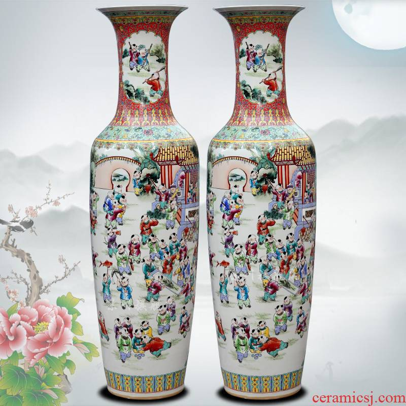 Jingdezhen ceramic hand - made pastel flower arranging the ancient philosophers figure sitting room of large vase household study office furnishing articles