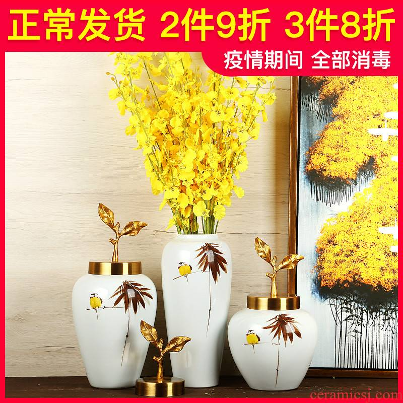 Jingdezhen ceramics vase furnishing articles manually new Chinese style suit dry flower arranging flowers I and contracted sitting room arts and crafts