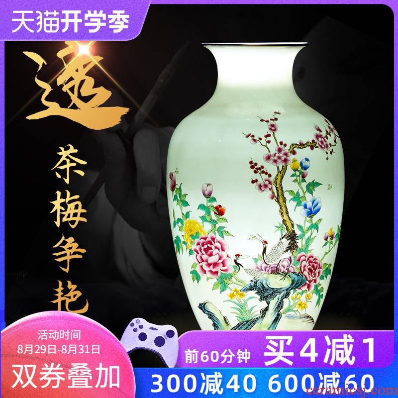 Jingdezhen ceramics powder enamel thin foetus vase Chinese style household furnishing articles sitting room TV ark adornment porcelain arranging flowers