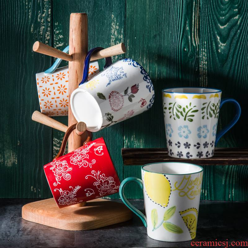 Hand - made under glaze color individuality creative ceramic cup large - capacity glass cup couples cup simple retro mugs