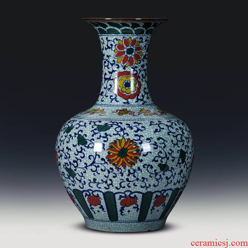 Jingdezhen ceramics large antique hand - made of blue and white porcelain vase furnishing articles of Chinese style living room floor decoration decoration