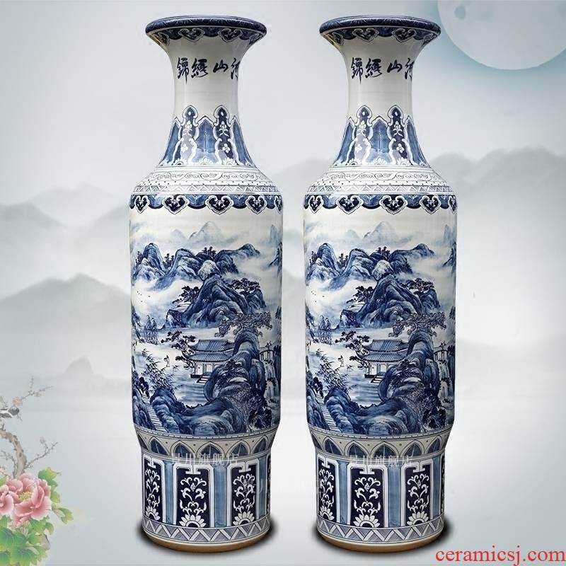 Blue and white porcelain of jingdezhen ceramic hand - made kumsusan river vase landed sitting room furniture of Chinese style place adorn article