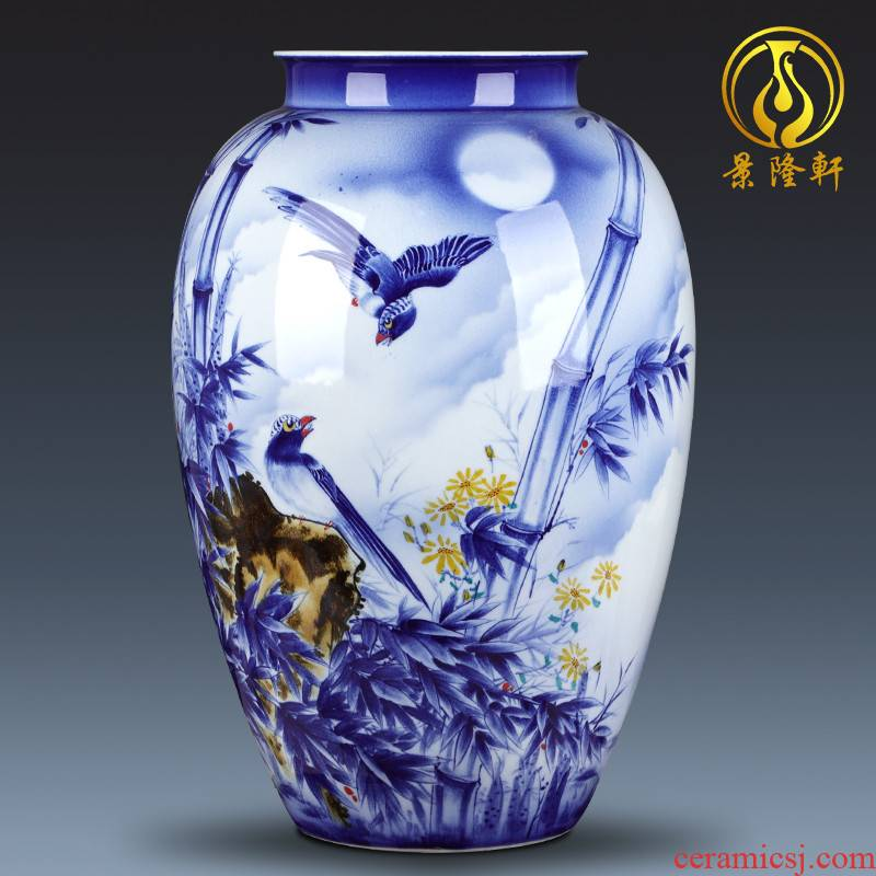 The Master of jingdezhen chinaware big vase hand - made bamboo report peaceful place gifts club villa hotel