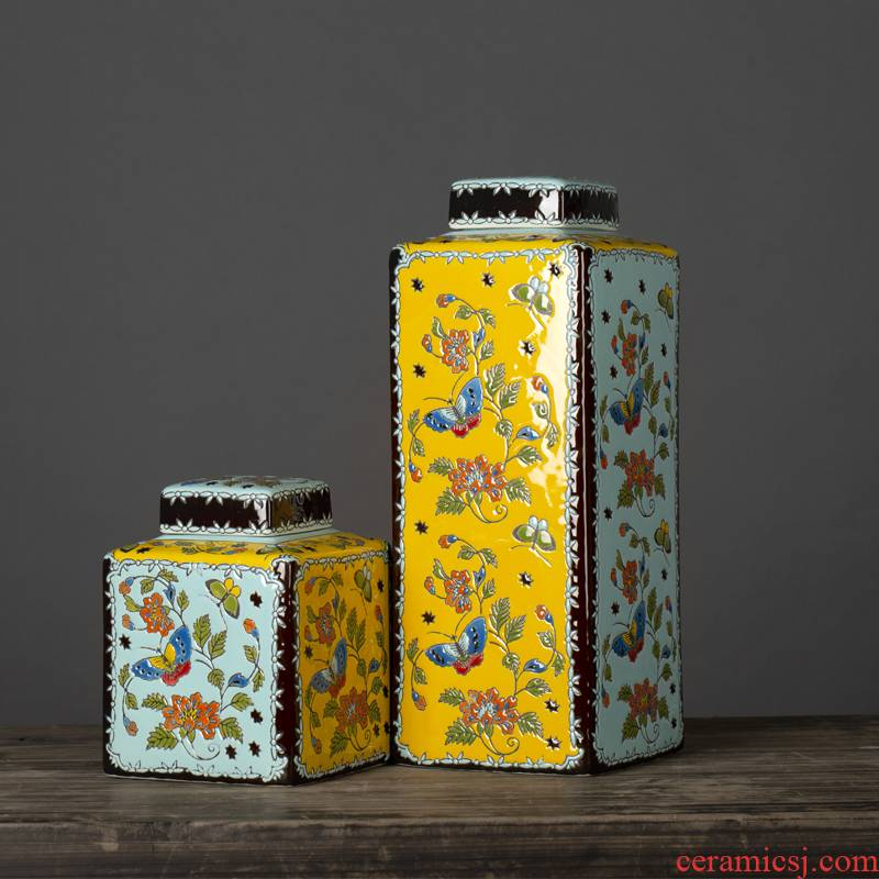 Jingdezhen ceramic pot European household act the role ofing is tasted, the quartet coloured drawing or pattern porch desktop furnishing articles with cover decoration decoration