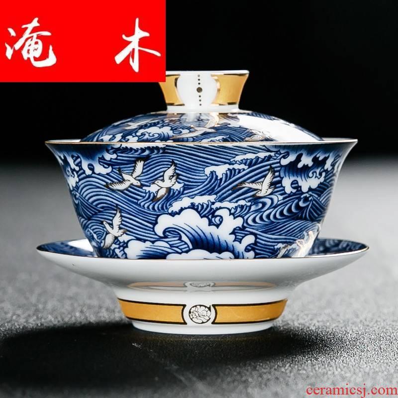 Submerged wood jingdezhen blue and white porcelain tea tureen large for ceramic kung fu tea set three to toast bowl bowl is not hot