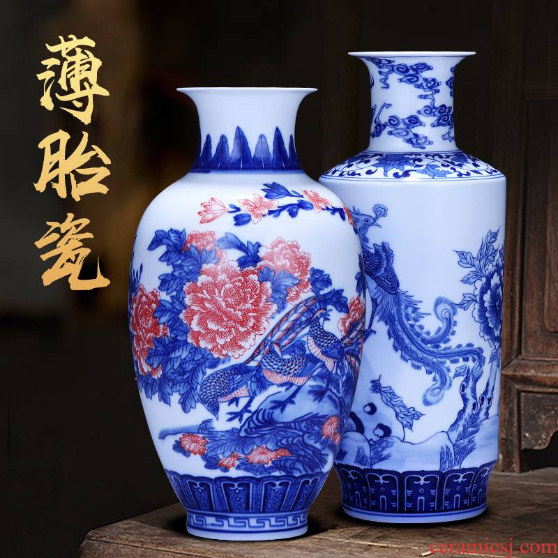 Jingdezhen ceramics archaize the qing hand - made painting of flowers and blue and white porcelain vases, flower arranging furnishing articles of Chinese style household decorations