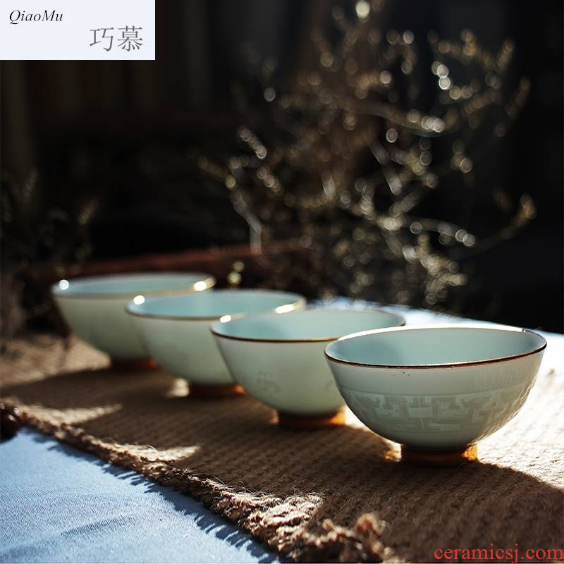 Qiao mu kung fu tea sets tea cups of jingdezhen ceramic tea set shadow celadon sample tea cup tea cup set of CPU