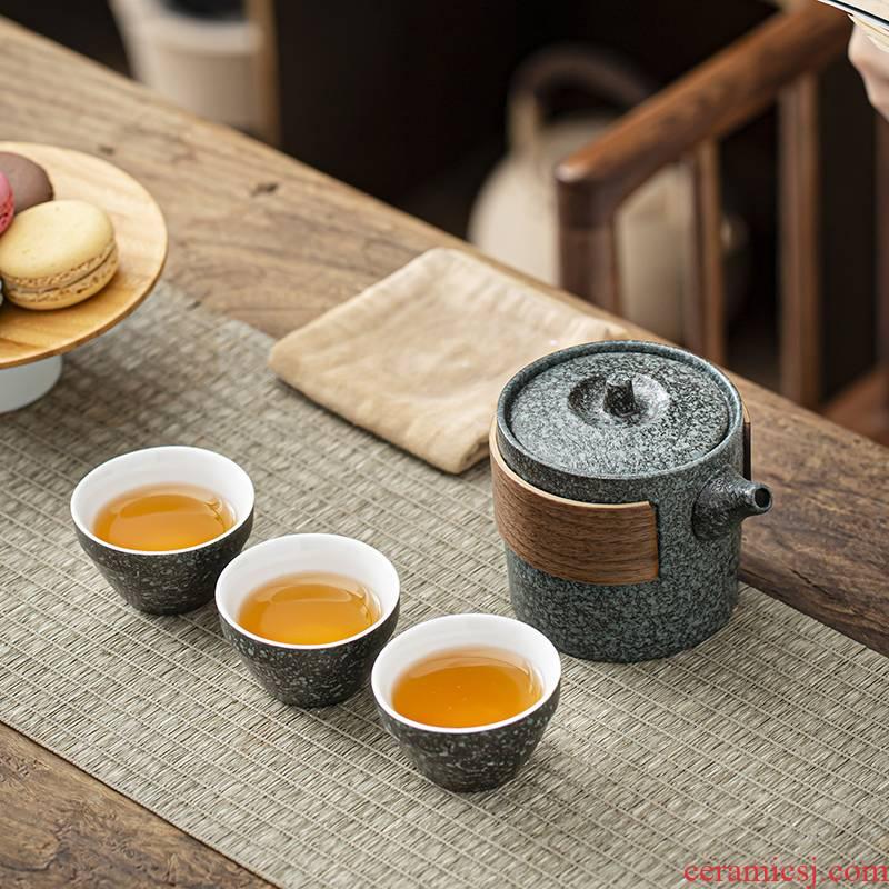 RenXin custom ceramic crack a pot of three kung fu tea set portable is suing travel tea set suits for you