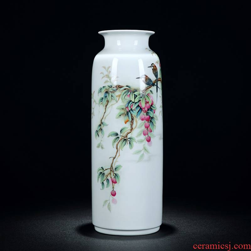 Jingdezhen vase hand - made painting of flowers and pastel colored enamel vase fortune is big