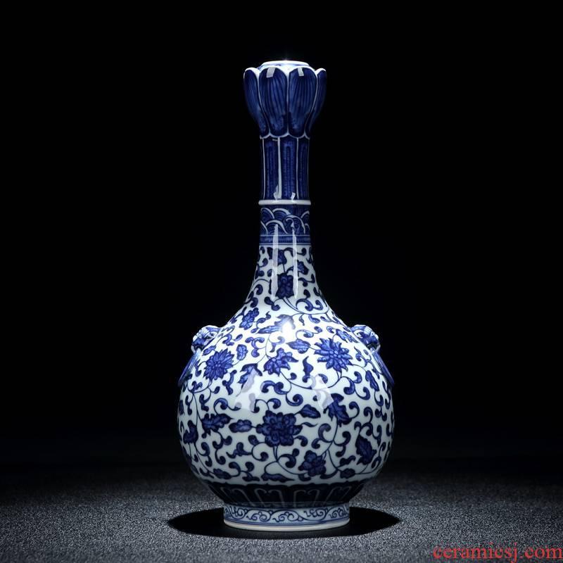 Jingdezhen porcelain hand - made ceramic vase furnishing articles sitting room adornment study antique calligraphy even lions ears garlic bottle