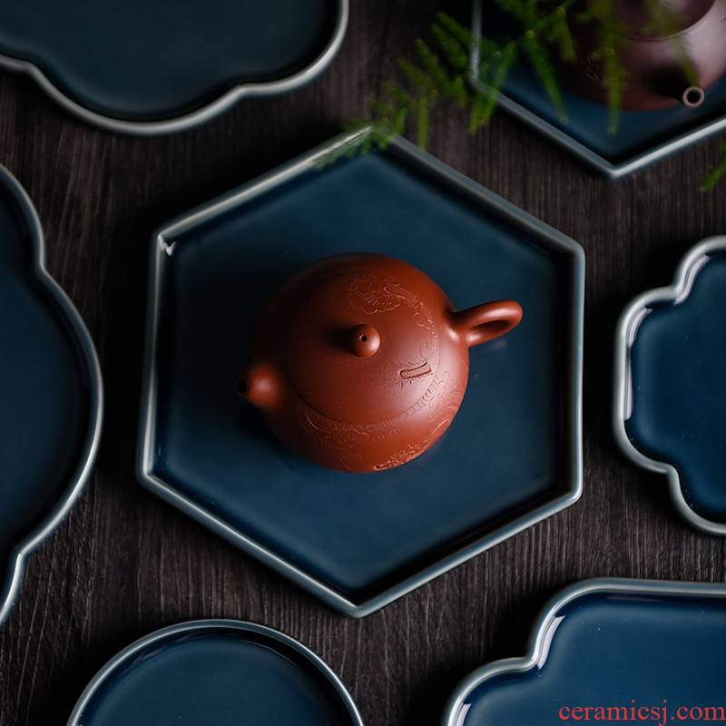 Ceramic story ji blue pot bearing are it zen dry terms tray of water small tea table kung fu tea tea accessories