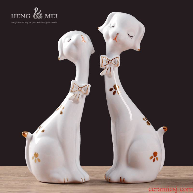 Creative I and contracted household soft adornment in the home express dog ceramic sitting room TV ark, small place adorn article