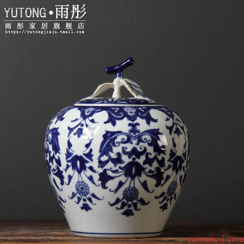 Blue and white porcelain ceramic furnishing articles ceramic pot household act the role ofing is tasted the kitchen storage tank snack jars household act the role ofing is tasted furnishing articles