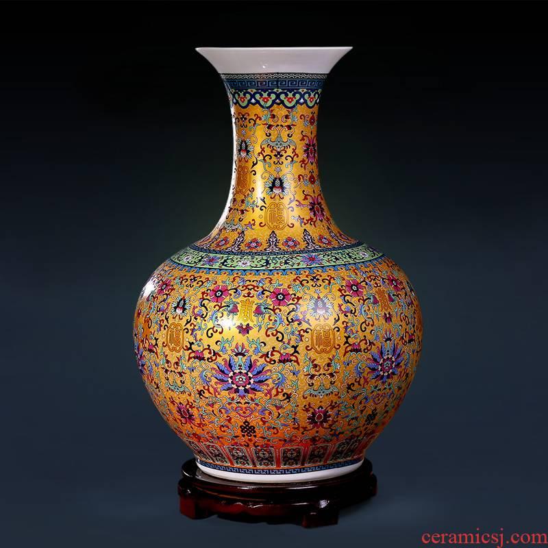 Archaize of jingdezhen ceramics colored enamel furnishing articles of large vase flower arranging Chinese style decoration large living room