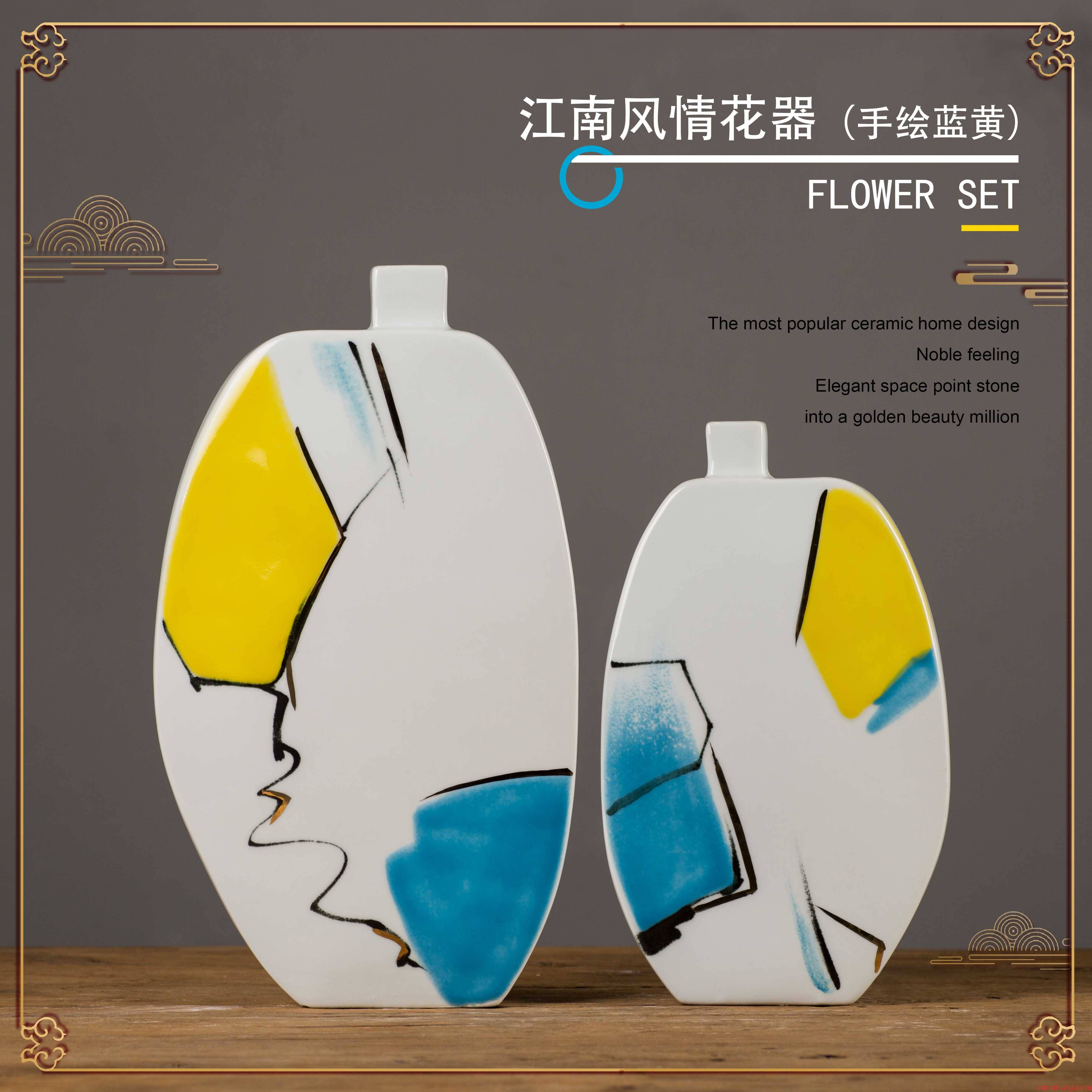 Creative furnishing articles sitting room ark, home decoration decoration jiangnan hand - made I and contracted wind craft ceramic flower receptacle