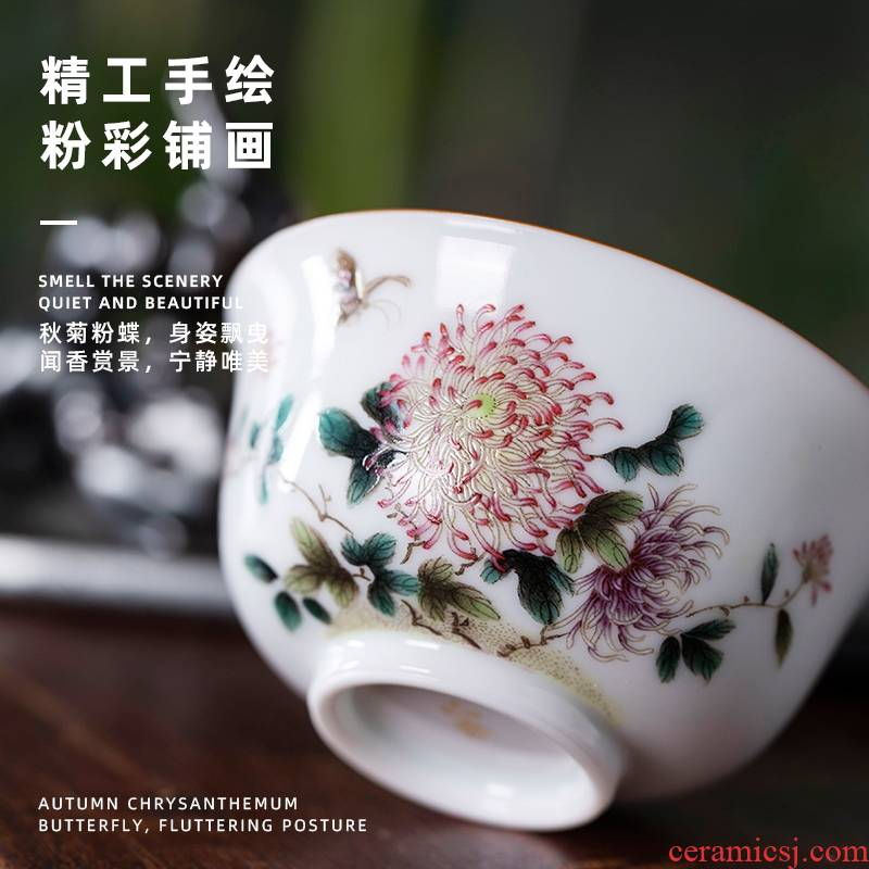 Garden skarn by master cup of pure manual painting kung fu tea cups large single CPU for household use glass ceramic tea set