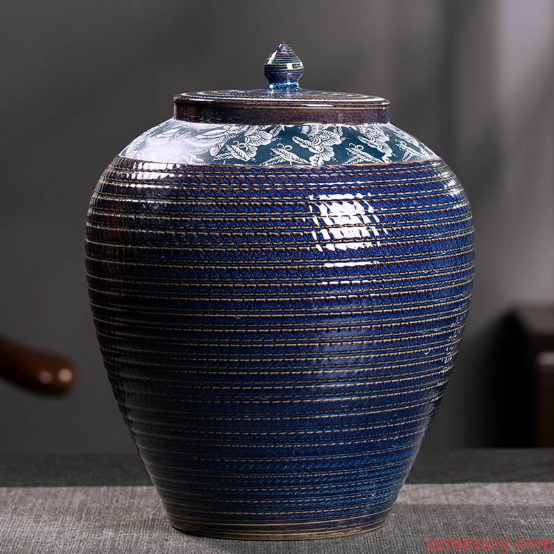 Large caddy fixings ceramic deposit ceramic pot seal storage canned tea tea tea urn storage tanks of the container