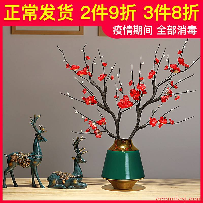 Jingdezhen ceramic vases, TV ark, dried flowers, flower arrangement furnishing articles of modern European wine decorate the sitting room the vase