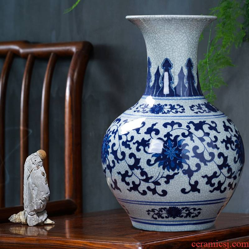 Jingdezhen porcelain ceramic large blue and white porcelain vase guanyao new Chinese style household furnishing articles archaize sitting room adornment