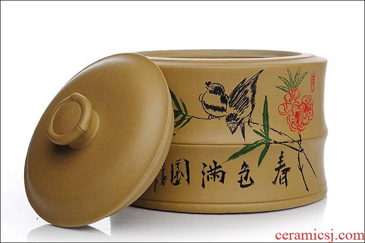 Shadow enjoy save tea pot yixing undressed ore bamboo bamboo violet arenaceous caddy fixings period of pu - erh tea to wake receives the tea urn storage JSBT