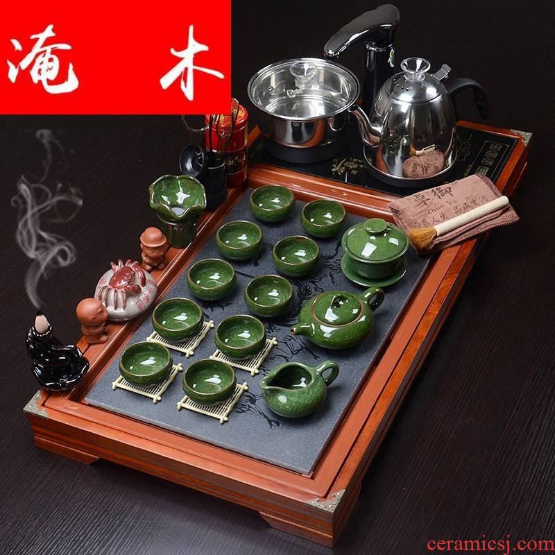 Submerged wood business needs solid wood and plate of purple sand ground kung fu tea set four one automatic sheung shui