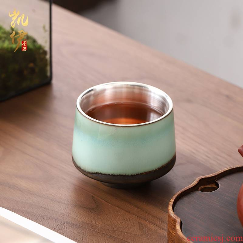 Up coppering. As 999 silver cup kung fu tea set sample tea cup individual household ceramics cup gradient master cup silver cup