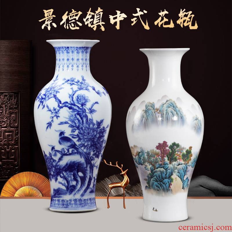Jingdezhen chinaware big blue and white porcelain vase lucky bamboo flower arrangement sitting room ark, household craft ornaments furnishing articles