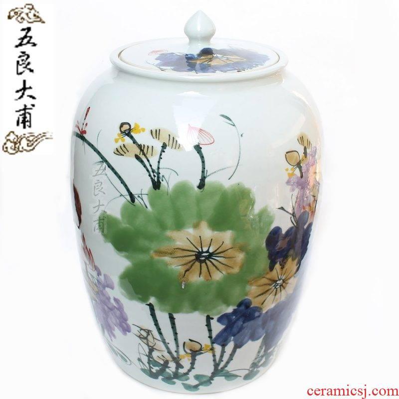 Five good big just 100 jins of jingdezhen ceramic jars jar sealed as cans of autumn lotus checking