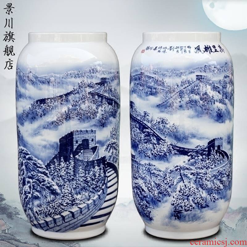 Blue and white porcelain hand - made wanli glory of jingdezhen ceramic vase home sitting room place study adornment to receive goods