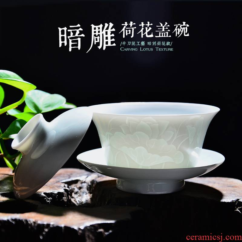 Twenty - four apparatus of jingdezhen ceramic tureen three teapots only worship white porcelain cups kung fu tea set cover a cup of tea