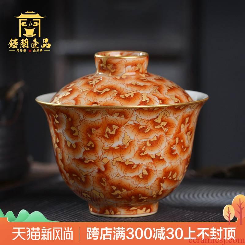 Jingdezhen ceramic hand - made alum red paint wanfu yanan no riding all three just tureen tea bowl household use