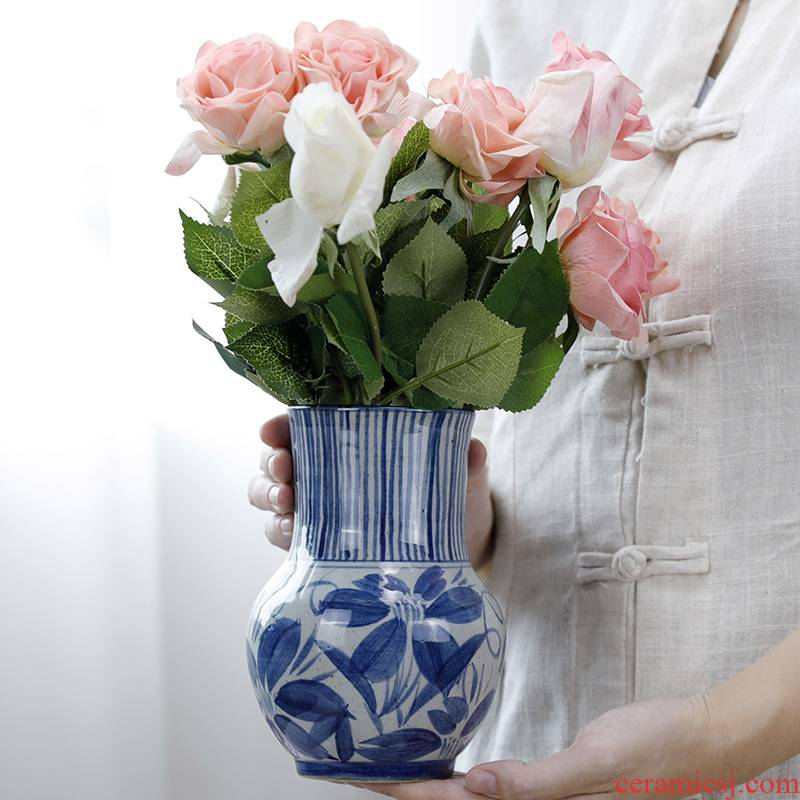 Manual small coarse soil pottery vase water raise creative porcelain craft ceramics archaize furnishing articles dry flower arranging flowers adornment