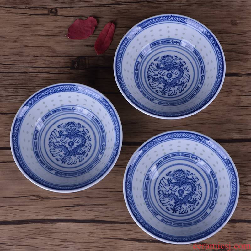 Shallow bowl of blue and white porcelain bowls suit dragon jingdezhen ceramic household custom printed logo adult traditional dish bowl