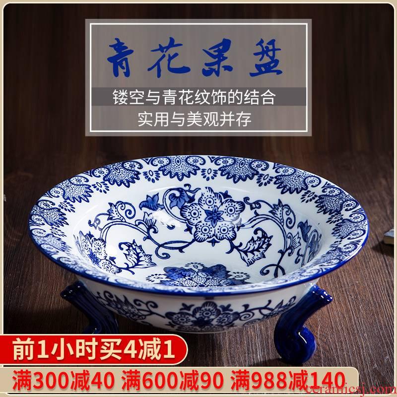391 jingdezhen ceramics glaze under modern blue and white porcelain bowl fashion creative home fruit basket food trays