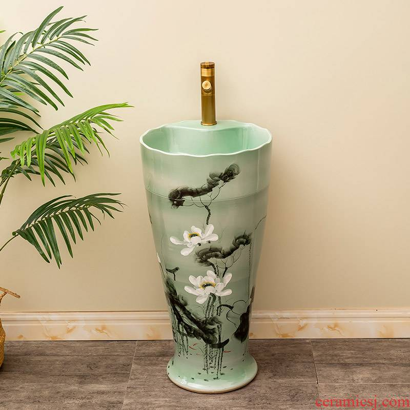 Is suing garden ceramics column basin of the balcony floor type lavatory household toilet lavabo lotus