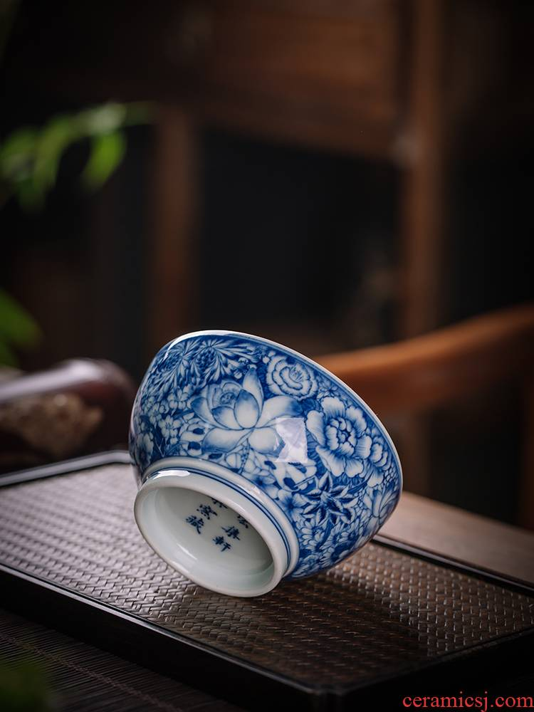 Jingdezhen blue and white flower is macro sets hin maintain cup wood beaker hand - made master cup bowl cups of nine section of lesser