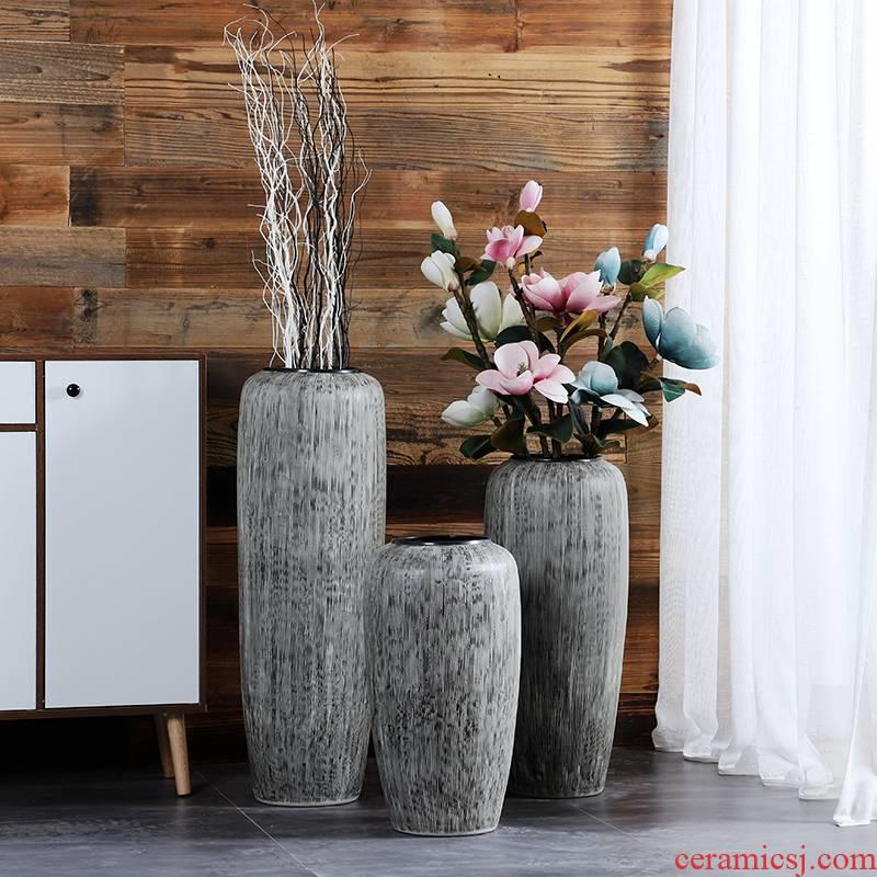 Jingdezhen ceramic vase landed large POTS European I and contracted sitting room hotel retro creative dry flower arrangement