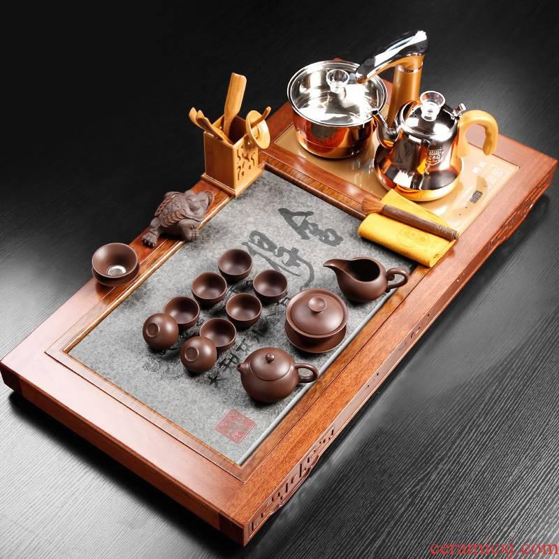 Hua limu tea tray tea set solid loading ceramic of a complete set of automatic tea tea tea cup contracted office