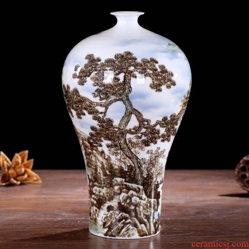 Jingdezhen ceramic hand - made guest - the greeting pine mesa floret bottle home sitting room study office furnishing articles of handicraft