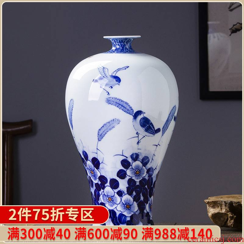Jingdezhen blue and white peony vases, new Chinese style ceramic hand - made decorative furnishing articles handicraft decoration arranging flowers