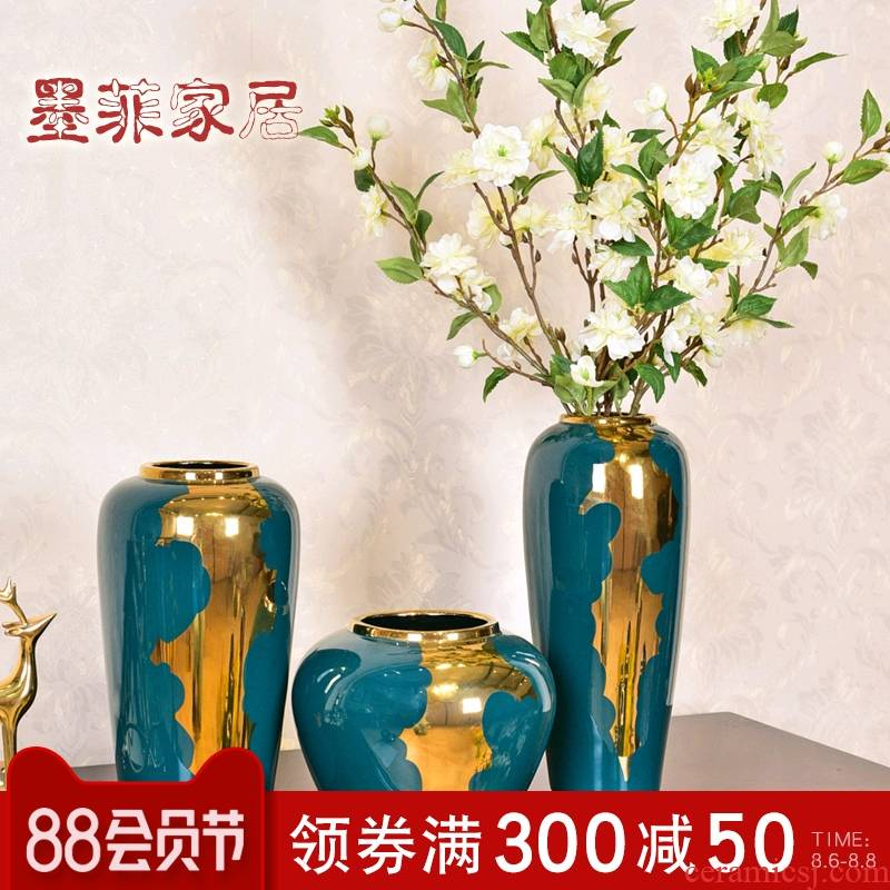 Light furnishing articles sitting room key-2 luxury vase flower arranging ceramic new Chinese American modern home decoration of TV ark, wine porch