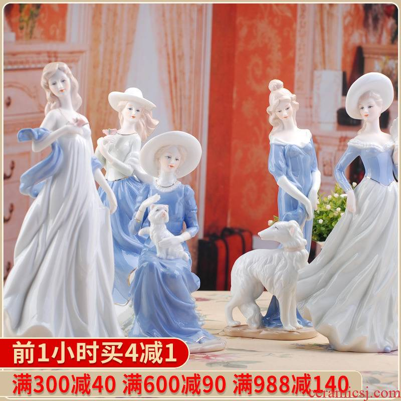 025 ceramic handicraft decoration modern home decoration person furnishing articles western female lovely home furnishing articles