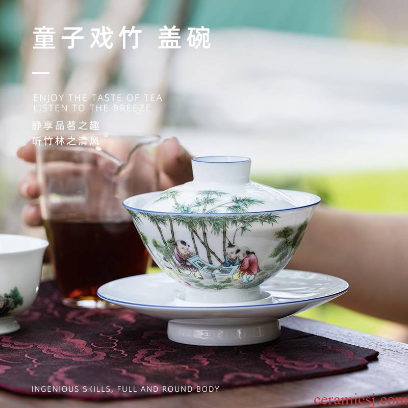 Bamboo mountain sound lad play only three tureen pure manual painting tureen jingdezhen ceramic cups kung fu to use of the individual