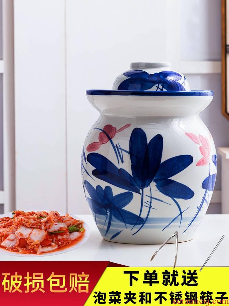 Sichuan pickle jar of household ceramic seal tank earthenware pickles pickled vegetable storage jar old kitchen kimchi