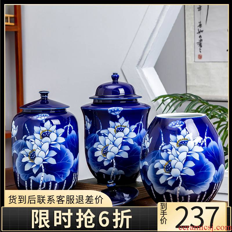 Jingdezhen ceramics hand - made of blue and white porcelain tea pot seal tank general jar with cover storage can act the role ofing is tasted furnishing articles