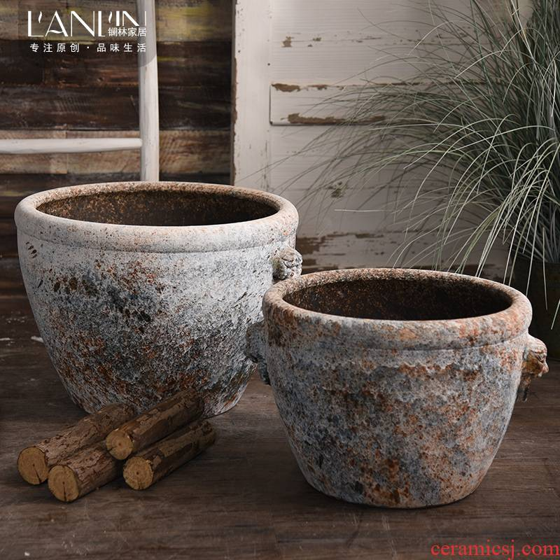 Ceramic antique VAT coarse pottery checking out the head of the big flowerpot tank floor furnishing articles courtyard garden bucket basin to plant trees