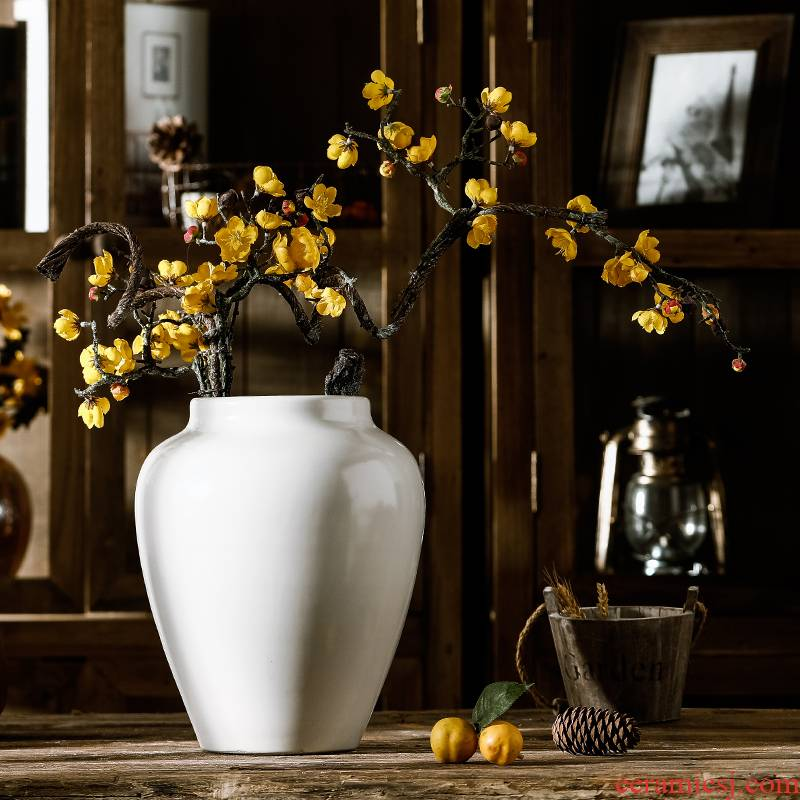 Pure white vase dried flower adornment furnishing articles ceramic sitting room decoration porcelain ware jingdezhen porcelain large POTS