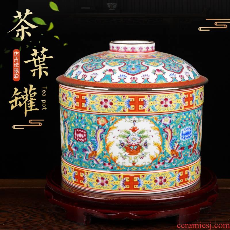 Jingdezhen colored enamel porcelain tea pot and tea cake tea pot with cover seal moisture large storage tank