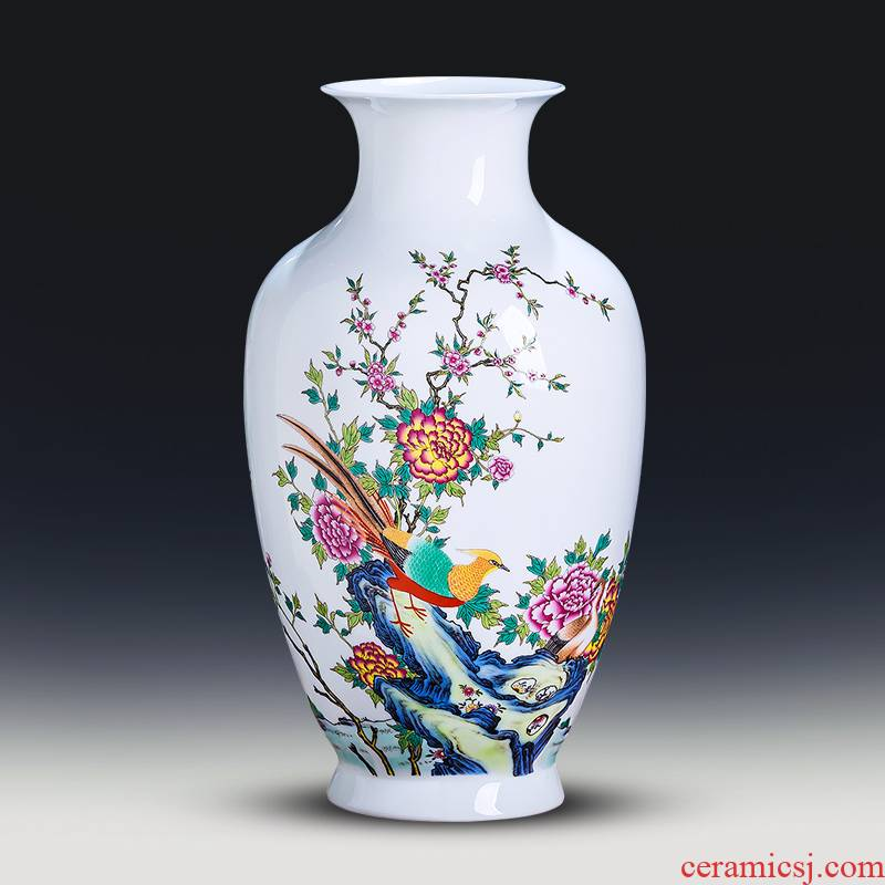 Jingdezhen ceramics powder enamel thin foetus vases, flower arranging furnishing articles of Chinese style is contracted home sitting room TV ark, adornment